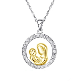 Mother's Day Silver Mother and Child Circular Type Pendant Necklace Gifts