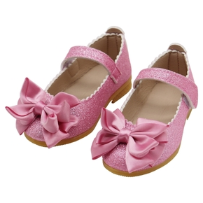 Toddler Elegant Sequined Velcro Big Bowknot Decor Flats Shoes
