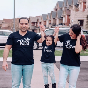 Royal Crown Print Family Matching Black Cotton T-shirts