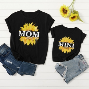 Sunflower Print Pattern Black Cotton Tops for Mom and Me