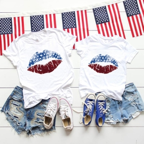 Independence Day Series Lips Print White Cotton T-shirts for Mom and Me
