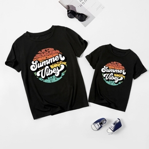 Summer Vibes Letter Print Cotton Black Short Sleeve T-shirts for Mom and Me