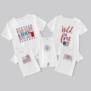 Mosaic Independence Day Letter Family Matching White Short-sleeve T-shirts