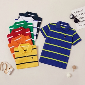 Trendy Multicolor Embroidered Striped Polo Shirts