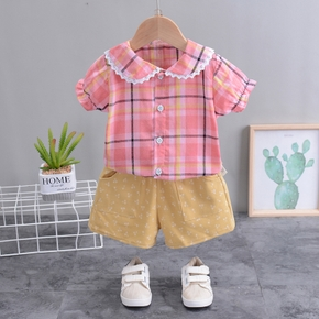 Baby Girl Sweet Plaid Baby's Sets