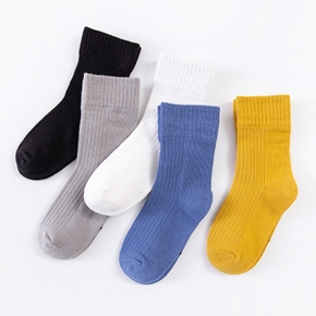 5-pack Baby / Toddler / Kid Solid Pinstriped Knitted Middle Socks
