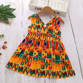 Toddler Girl Stylish Colorful Vintage Print Dress