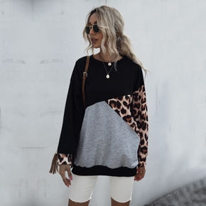 Casual Leopard Print Round collar long sleeve normal Hoodie
