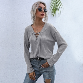 Casual Print V-neck long sleeve Sweaters