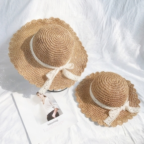 Mommy and Me Lace Bow Straw Hats