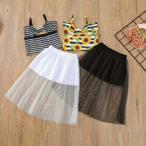 2-piece Toddler Girl Bowknot Striped Camisole and Mesh Skirt Set