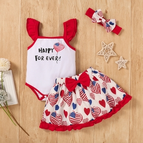 3pcs Baby Girl Ruffle-sleeve Heart-shaped Stars Letter Print Polyester & Cotton Baby's Sets