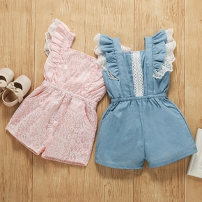 Solid Lace Decor Flutter-sleeve Baby Romper