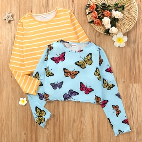 Kid Girl Beautiful Butterfly & Stripe T-shirt