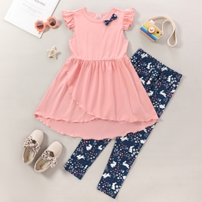Kids Girl Easter Bowknot Ruffled Dress and Allover Pants Set