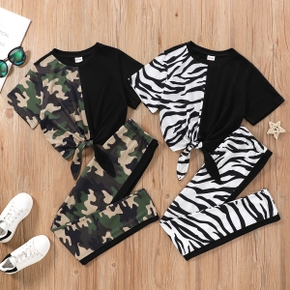 Kid Girl Fashionable Colorblock Camouflage & Zebra Print Set