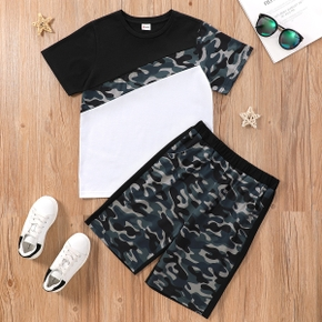 Trendy Kid Boy Colorblock Camouflage Set