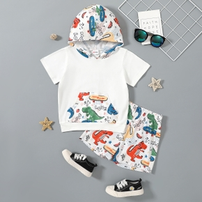 2pcs Toddler Boy Fashionable Dinosaur Top and Shorts