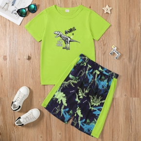 Trendy Kid Boy Dinosaur Print Green Casual Set
