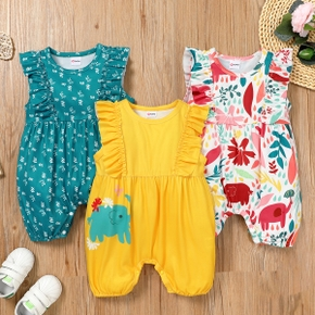 3-pack Baby Flutter-sleeve Floral Elephant Print Casual Rompers