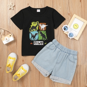 Fashionable Toddler Boy Dinosaur Letter Print Top And Short Jeans