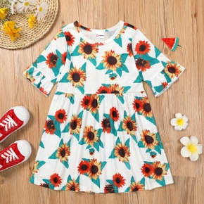 Trendy Toddler Girl Sunflower Print Dress