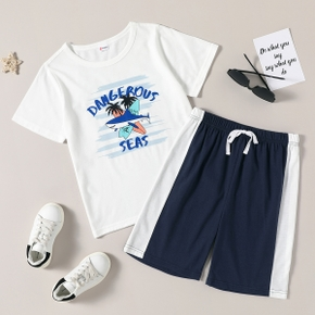 Trendy Kid Boy Summer Letter Sea Palm Casual Suits