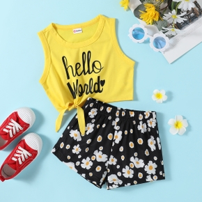 Toddler Girl Letter Print Sleeveless Top And Daisy Print Shorts