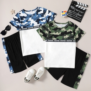 Stylish Kid Boy Camouflage Colorblock Letter Print Casual Suits