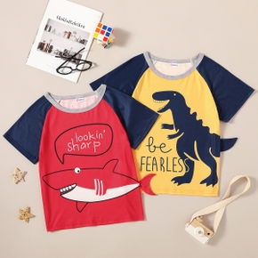 Trendy Kid Boy Letter Animal 3D Dinosaur Shark Sea Colorblock T-shirt