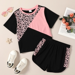Trendy Kid Girl Colorblock Leopard Pink Casual Suits