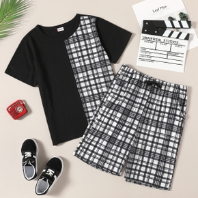 Trendy Kid Boy Plaid Colorblock Pocket Shorts 2-piece Casual Suits