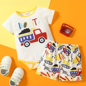 2pcs Baby boy Short-sleeve  casual Vehicle Rompers & Bodysuits