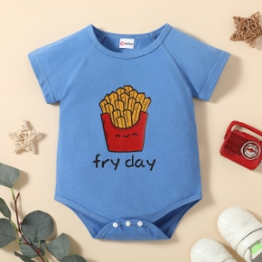 Baby Boy Food French fried Letter Print Short-sleeve Romper