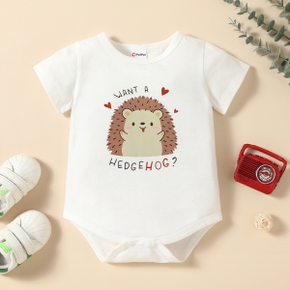 1pc Baby Boy Short-sleeve Hedgehog Letter Print Romper