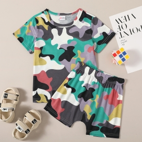 Fashionable Toddler Boy Camouflage Colorblock  Top And Shorts