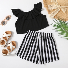 Trendy Toddler Girl Ruffle Flounce Top And Stripe Shorts