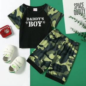 2pcs Baby Boy Short-sleeve Camouflage Letter Print Baby's Sets