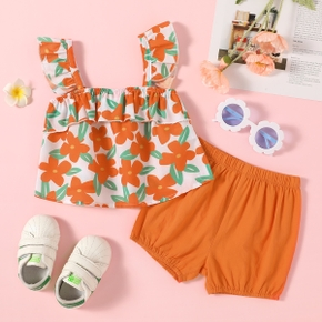 Sweet Toddler Girl Floral Print Tank And Shorts