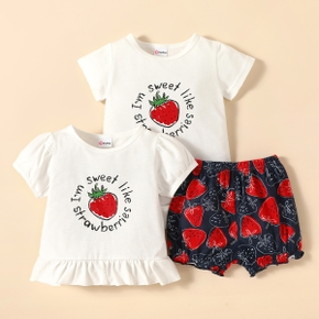 3pcs Baby Girl Short-sleeve Letter Strawberry Print Baby's Sets