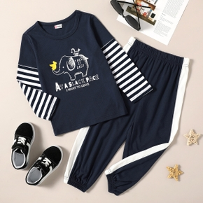 Toddler Boy Elephant Letter Stripe Print Long-sleeve Sets