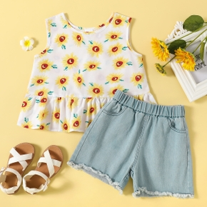 Toddler Girl Sunflower Sleeveless Top And Jeans Shorts