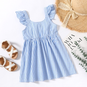 Toddler Girl  Ruffle-sleeve And Striped Dress