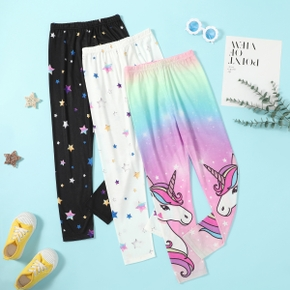 Pretty Kid Girl Unicorn Galaxy Rainbow Colorful Stars Leggings