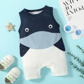 1pc Baby Boy Sleeveless Whale Stripe Print Pants Jumpsuits