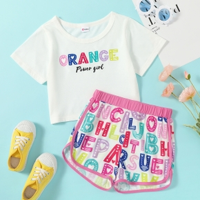 Pretty Kid Girl 2-piece Short-sleeve Letter Print Color block Shorts Suits