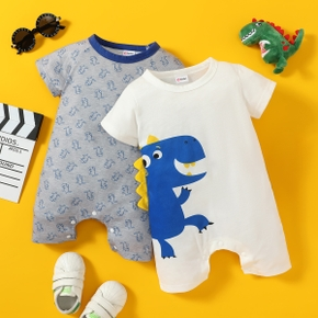 2pcs Baby Boy & Girl Short-sleeve Dinosaur Print Jumpsuits