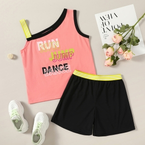 Pretty Kid Girl 2-piece Sleeveless Letter Print Color block Shorts Suits