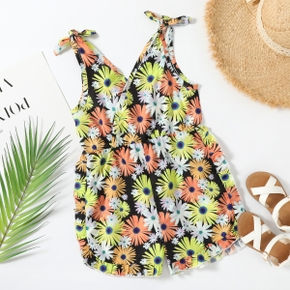 Pretty Kid Girl Floral Print Bowknot Decor Rompers