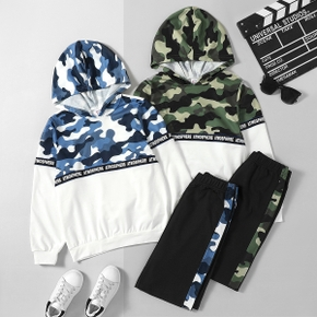 2-piece Kid Boy Letter Camouflage Hoodies and Elasticized Pants Set
